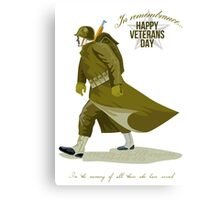 World War Two Veterans Day Greeting Card Canvas Print