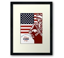 Veterans Day Modern American Soldier Card Framed Print