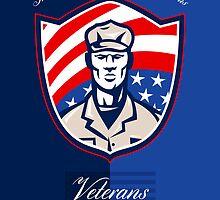 Veterans Day Modern Soldier Greeting Card Retro by patrimonio
