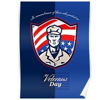 Veterans Day Modern Soldier Greeting Card Retro Poster