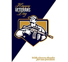 Modern Soldier Veterans Day Greeting Card Retro Photographic Print