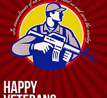 Modern Soldier Veterans Day Greeting Card Side by patrimonio