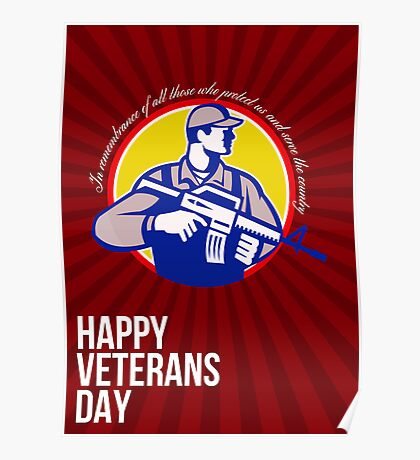 Modern Soldier Veterans Day Greeting Card Side Poster