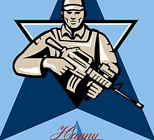 Modern Soldier Veterans Day Greeting Card Front by patrimonio