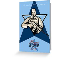 Modern Soldier Veterans Day Greeting Card Front Greeting Card