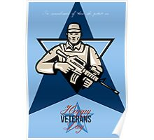 Modern Soldier Veterans Day Greeting Card Front Poster