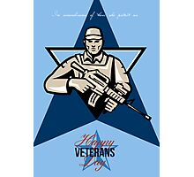 Modern Soldier Veterans Day Greeting Card Front Photographic Print