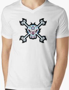 Mexican 'Day of the Dead' Skull Pattern Mens V-Neck T-Shirt