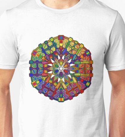 Mechanical Petal Rainbow Mandala Unisex T-Shirt