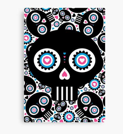 Mexican 'Day of the Dead' Skull Pattern Canvas Print
