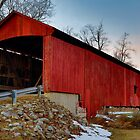 Red Covered Bridge Midwinter at Sundown by Kenneth Keifer