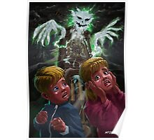 Kids with Haunted Grandfather Clock Ghost Poster