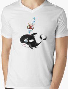 Cartoon Jonah & the Whale Mens V-Neck T-Shirt