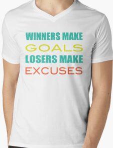 Winners Make Goals Losers Make Excuses Mens V-Neck T-Shirt