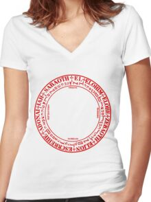 6th Book of Moses Angels Circle Women's Fitted V-Neck T-Shirt