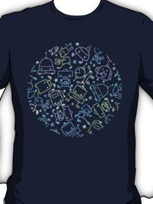 Doodle robots pattern T-Shirt
