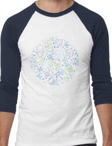 Doodle robots pattern Men's Baseball ¾ T-Shirt