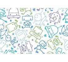Doodle robots pattern Photographic Print