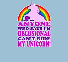 Funny Delusional Unicorn (Vintage Distressed Design) Womens Fitted T-Shirt