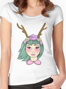 Deer Girl - Mint Women's Fitted Scoop T-Shirt