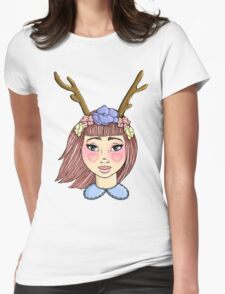 Deer Girl - Red Womens Fitted T-Shirt