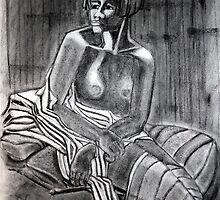 Seated Nude with Fabric by Karen Gingell