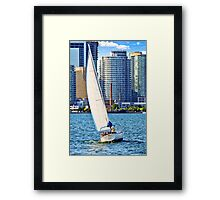 Sailboat in Toronto harbor Framed Print