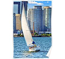 Sailboat in Toronto harbor Poster