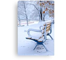 Winter bench in Toronto Canvas Print