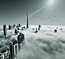 Burj Khalifa - Dubai during fog by naufalmq