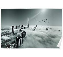 Burj Khalifa - Dubai during fog Poster