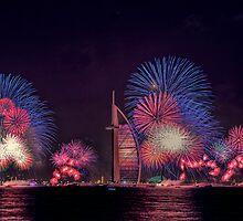 New year celebration with fireworks in Burj Al Arab, Dubai by naufalmq
