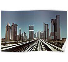 Dubai skyline from metro Poster