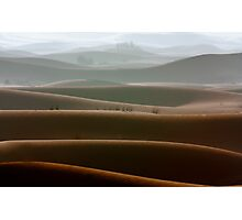 Dubai desert in a foggy morning Photographic Print
