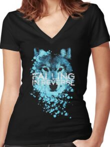 Falling in reverse - Raised by wolves Women's Fitted V-Neck T-Shirt
