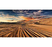 Dubai desert with beautiful sandunes during the sunrise Photographic Print