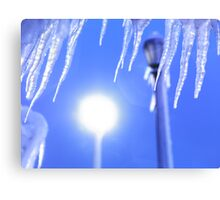 Icicles against blue sky art photo print Canvas Print