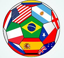 soccer with various flags - Brazil 2014 by siloto