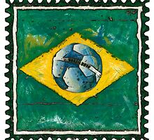 Brazilian flag with ball in grunge style by siloto