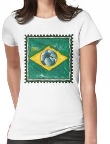 Brazilian flag with ball in grunge style Womens Fitted T-Shirt