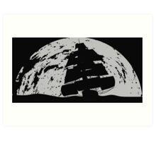 Tallship in front of Moon at night Art Print