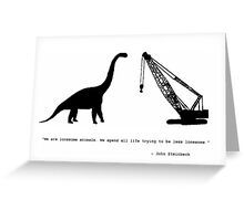 Lonely Dinosaur Meets Crane Greeting Card