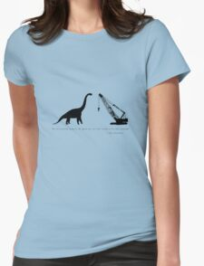 Lonely Dinosaur Meets Crane Womens Fitted T-Shirt