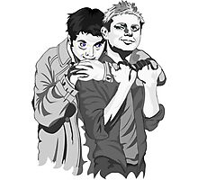 Destiel Hug b/w Photographic Print