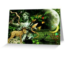 Diana, the goddess of Nature, the Hunt, Fertility, Childbirth and the Moon (month of August) Greeting Card