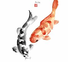 Orange Red Black Fish Pisces Koi Carp Zodiac Ocean Animal World Water Colors collection Fishe by Johana Szmerdt