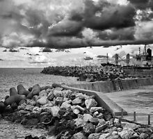A lonely walk in the port by Spyridon