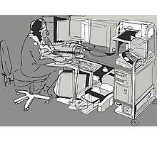 COMPUTER OFFICE WORKER Photographic Print