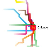 Chicago CTA Rainbow Map by Dean Dunakin