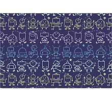 Cute robots stripes pattern Photographic Print